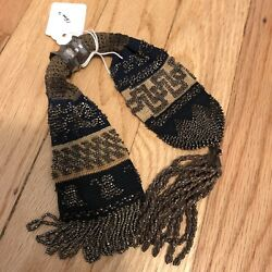 Knitted & Beaded Antique Miser's Purse * Circa 1860 * English