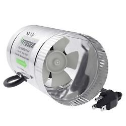 4 Inch Inline Duct Booster Fan 100 CFM Low Noise & Extra Long 5.5' Grounded Cord