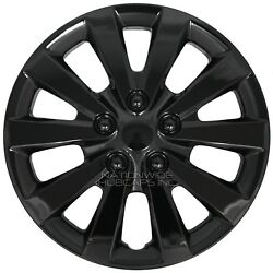 16 Set Of 4 Black Wheel Covers Snap On Full Hub Caps Fits R16 Tire And Steel Rim