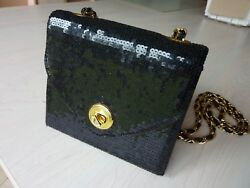 $325 Neiman Marcus Black Sequence Gold Chain Strap Small Evening Shoulder Bag