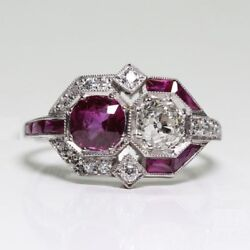 2.2 Ct Vintage Art Deco Two Stone Round Cut Engagement Ring 925 Sterling Silver