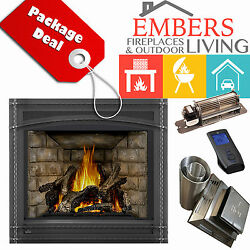 NAPOLEON GX70 ASCENT GAS FIREPLACE DIRECT VENT KIT WROUGHT NEWPORT BRICK BLOWER