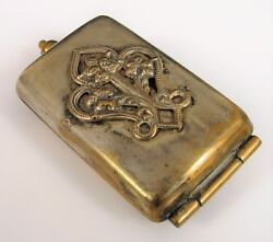 Antique Victorian Silver Plated Brass Double Coin Holder Purse Pendant Accessory