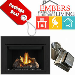NAPOLEON HD46 LARGE DIRECT VENT GAS FIREPLACE W VENT KIT & REQUIRED SURROUND