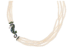 Judith Ripka Sterling Silver Sarah Seahorse Pearl Necklace 2.00 Cttw Retired