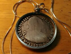 1794 Colonial Spanish Peru Silver 2reale Pendant And 18 Italy Silver Round Chain