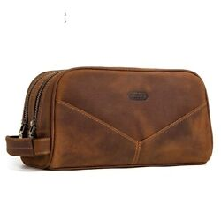 Men's Cosmetic Pouch Genuine Leather Personal Vintage Toiletry Purse Small Bag