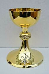 + Antique Chalice + All Sterling Silver + 7 1/2 Ht + Gold Plated + Cu576