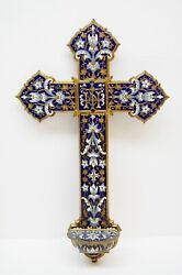 + Antique Wall Mounted Enameled Cross Holy Water Font + Chalice Co. Sr10
