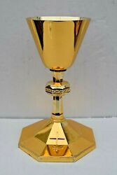 + Traditional Antique All Sterling Silver Chalice + All Gold Plated+ Cu580