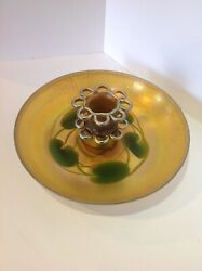 Favrile Centerpiece Bowl W/ Flower Frog. Lily Pads. Signed Antique