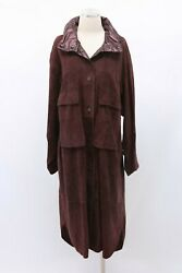 Nwt11395 Brunello Cucinelli Leather Suede Overcoat W/hood Pouch+beading42m A191