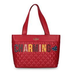 Love Moschino Red Quilted Shoulder Bag Shopping Purse Designer Logo
