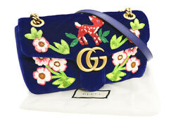 Gucci GG Marmont Chain Shoulder Bag Velvet 443497 Embroidery Floral Fawn Auth