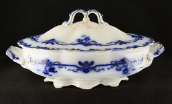 Johnson Brothers Oxford Flow Blue Covered Oval Vegetable Bowl