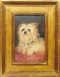 ANTIQUE ORIGINAL OIL PAINTING MALTESE OR YORKSHIRE TERRIER DOG AFTER MAUD EARL