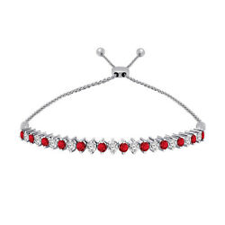 1.05 Ct Ruby & White Diamond 14K White Gold Adjustable Tennis Bolo Bracelet