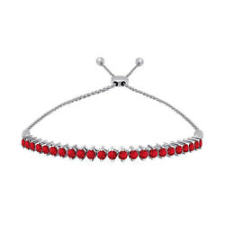 1.00 Ct Red Ruby 14K White Gold Adjustable Tennis Bolo Bracelet 2 Prong
