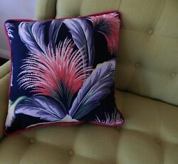 Tropical Barkcloth Pillow Cover South Beach Coral Papyrus Authentic 1940and039s Zip