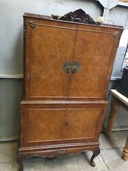 Vintage 1920s Maple And Co Bur Walnut Cocktail Cabinate In Queen Ann Style