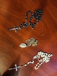 Antique Rosary Beads And Catholic Necklace Maryone From Italy , Stamped