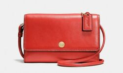 NWT Coach Smooth Watermelon Leather Phone Crossbody Bag Wallet 63154 Small NEW