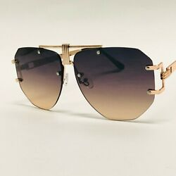 Fashion Designer Gold Metal Flat Lens Celebrity Square Women Men New Sunglasses $14.99