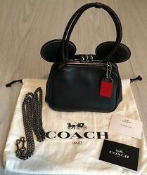 COACH DISNEY COLLECTION MICKEY MOUSE KISS LOCK  BLACK LEATHER CLUTCH PURSE BAG
