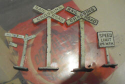 Lot Of 3 Vintage O Scale Metal Railroad Crossing Speed Limit Signs Look