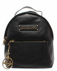 LOVE MOSCHINO Women's Bag Backpack Leather Black Gold New