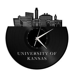 University Of Kansas Vinyl Wall Clock Unique Gift For Home Room Decoration