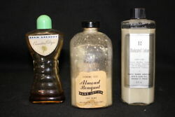 3 Vintage Original Art Deco Glass Collectible Cologne And Lotion Bottles 1930's