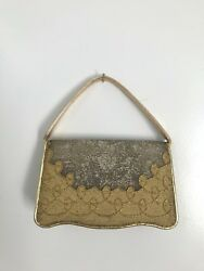 50s NETTIE ROSENSTEIN micro beaded gold silver leather trim cocktail evening bag