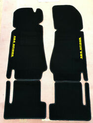 Black Velours Floormats For Fiat 124 Spider 1966-1985 With Yellow Logo