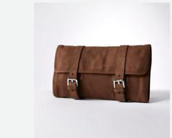 Brunello Cucinelli Men brown suede travel travel kit cosmetic toiletry Bag New