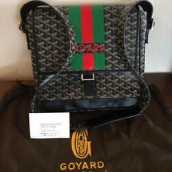 GOYARD Grand Blue MM Shoulder Bag Messenger Crossbody Black Auth New Super Rare