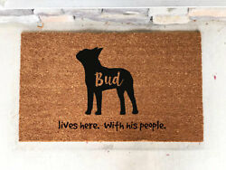Personalized Custom Door Mat Boston Terrier Gift Present House Warming Dog Lover