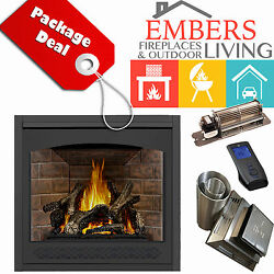 NAPOLEON GX70 ASCENT GAS FIREPLACE DIRECT VENT KIT HERITAGE REMOTE OLD RED BRICK
