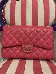 Chanel Classic Pink Lambskin Double Flap Bag with Gold Hardware