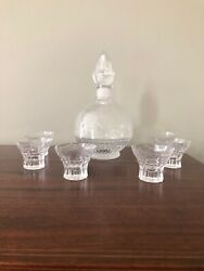 Antique Grapes And Vine Engraved Etched Crystal Glass Decanter 6 Shot Glass Set