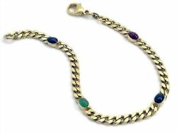 Bracelet Real Gold 585 14ct with Oval Sapphires Emerald and Ruby