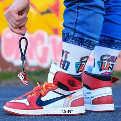 Handcrafted Off-White AJ1 Chicago 3D Sneakers Keychain Best Sneakers Gifts