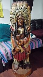 Wooden Cigar Store Indian Carved With Chainsaw