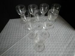 Baccarat Chambolle 6 7/8 Tall Blown Glass 10 Ten Stemmed Water Goblets Crafte