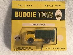 """Vintage 1960s Budgie Toys Die Cast Car England """"tipper Truck"""" 21 Blister Pack"""