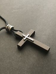 CROSS for Car Rearview Mirror Charm with Easy Adjustable Cord Brown Silver $5.49