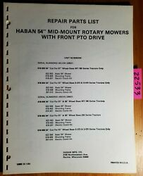 Haban 54 Mid-mount Rotary Mower With Front Pto Drive Parts Catalog Manual 8/83