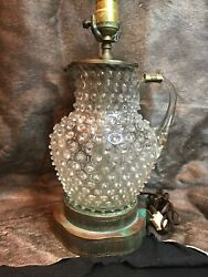 Vintage Hobnail Table Lamp. Clear Crystal Hobnail Pitcher W/brass Base And Accents