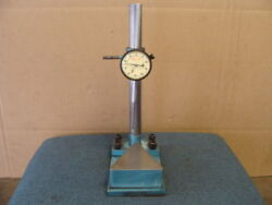 Parts Thickness Measuring Stand W/ 2 Starrett Indicator And Adjustable Post