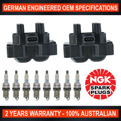 8x Ngk Platinum Spark Plugs And 2x Swan Ignition Coils For Land Rover Range Rover